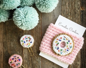 Reusable Coffee Cozy Sprinkled Donut Donut Planner Clip Sweet Valentine's Day Gift