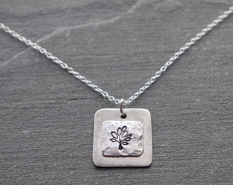 Sterling silver tree necklace, Tree necklace, Silver Tree Charm Necklace, Handmade Silver Tree of Life Necklace, Hand Stamped Silver