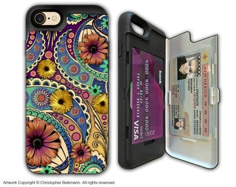 Colorful Paisley Floral Apple iPhone 7 Card holder Case - Petals and Paisley - Wallet Apple iPhone 7 Case with Rubber Sides