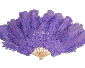 """24""""x 43"""" Aqua violet Marabou & Ostrich Feathers Hand Fan With Bamboo Staves Burlesque Dance"""