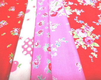 SALE Japanese Fabric Flower Strawberry FQ 5Pices L1