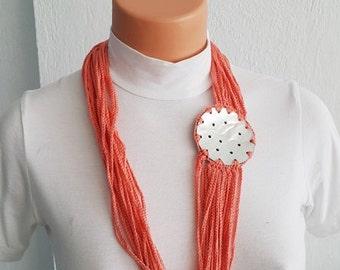 Salmon Fashion Pearl sea shell necklace scarf ,mother of pearl nacre  - Bridal jewelry, Bridesmaid jewelry /  nacre, 100% Cotton,  Unique