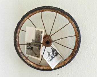 Vintage Wheel. Repurposed. Art. Rustic & Industrial Home Decor. Photo Display.