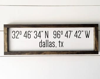 Customizable City Latitude Longitude Sign