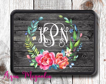 Floral Wreath - Weathered Wood - Personalized - Trailer Hitch Cover - Shabby Chic - Monogrammed - Car Accessory