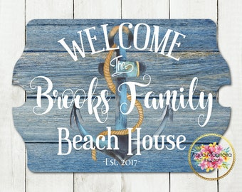 Custom House Sign - Personalized - Beach House Sign - Lake House Sign - Cottage - Farm House - Home Decor - Anchor - Rustic Wood