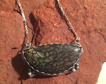 Fangorn Forest Sterling Silver Necklace ~ Dinosaur bone