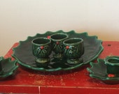 Vintage Lefton Ceramic Christmas Six Piece Candle Plate Set/ Holly and Berry