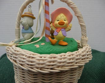 Hallmark Maypole basket with character ornaments plus bunny ornament