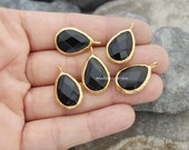 black onyx teardrop pendant bezel charm faceted drop genuine pear 24mm gemstone gold plated 83
