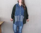 Funky upcycled tunic Lagenlook clothing wearable art denim shirt jacket Boho gypsy chic top oversize one size Eco tunic  LillieNoraDryGoods