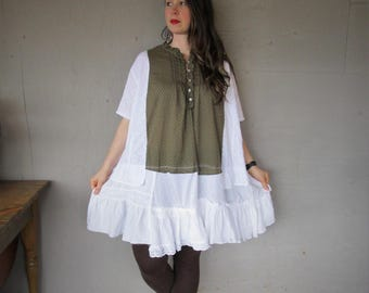 Oversize Beach dress upcycled clothing cotton summer dress Prairie clothing one size recycled shirt Eco Boho loose dress  LillieNoraDryGoods