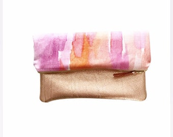 Fold Over Clutch, Clutch Bag, Pink Clutch Bag, Pink Purse, Foldover Clutch, Rose Gold Leather Clutch, Rose Gold Leather, Bridesmaid Gift