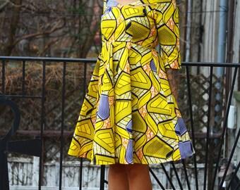 ZARIAH - Yellow Waves African Ankara Wax Print Dress SM - XL