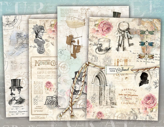 Steampunk Cards - digital collage sheet - set of 4 cards - Printable Download