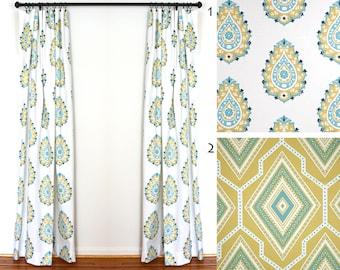 Curtains 2 Curtain Panels Draperies Window Treatments Premier Prints Damask Saffron