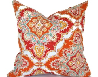 Outdoor Pillows ANY SIZE Outdoor Cushions Outdoor Pillow Covers Decorative Pillows Outdoor Cushion Covers Euro Pillow Zoie Tangerine