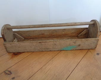 Antique Wood Handyman's Homemade Tool Box, Country Planter, Rustic Toolbox,Primitive Carpenters tool box.Primitive Planter