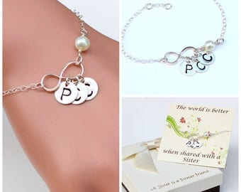 Personalized Infinity sterling silver bracelet. Sister bracelet, best friends bracelet. Mother bracelet