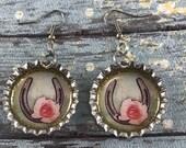 Horseshoe Earrings, Lucky Earrings, Bottle Cap Earrings, Good Luck, Boho Earrings,Bottle Cap Jewelry, Western Jewelry