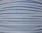 LT. Steel Blue Faux Suede Fiber Cording, DIY Jewelry Making Cording// Man made faux suede cording strands 10 / 2.50//Color Kissed Silk LLC.