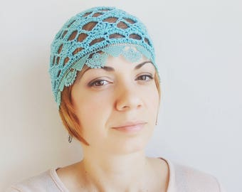 Turquoise Crochet chemo hat, Summer Beanie HAT, COTTON Hippie hat lace women summer hats Aqua Boho Skull cap Chemo Headwear