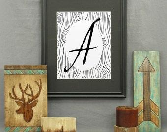 Large Letter A Print, printable letter art, letters, typography, monogram art, modern rustic décor, alphabet, poster, initials, wall art