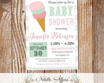 Modern Ghost Mint Light Pink Ice Cream Cone Sweet Dessert Baby Shower Invitation - heres the scoop - ice cream sundae party shower invite