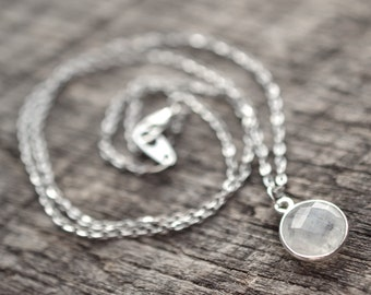 Dainty Moonstone Necklace, Minimalist Necklace, Moonstone Jewelry, Silver Moonstone, Gypsy Jewelry, Layering Necklace, Gemstone Necklace