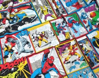 vintage Marvel Superhero Spiderman Captain America Hulk single twin single duvet & pillowcase for Patchwork Quilting Upcycling