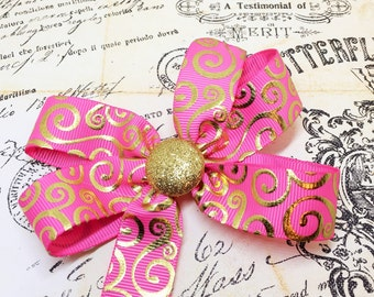Pink Boutique Hairbow - Boutique Hairbow - Pink Pinwheel Bow - Pink Hairbow - Gold Hairbow