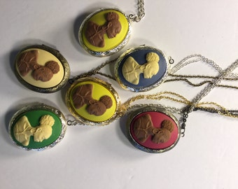 Vintage Cameo Locket 30X40 Pink, Green,Blue,Yellow,And Cream/FREE SHIPPING