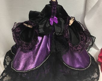 Black and Purple Spider Web Victorian Gown for your 27 cm Obitsu Doll