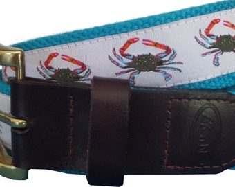 Blue Crab Leather Belt / Leather Belt / Nautical Belt / Preppy Webbing Belt Men, Women and Children/Blue Crab on White Ribbon and Turquoise