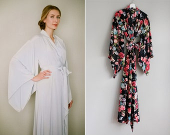 "1 custom long ""Noguchi"" kimono robe in faux silk crepe. Black floral kimono Long womens robe Luxury silk robe robe with pockets Gift for her"