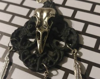 Skull  and feather Necklace