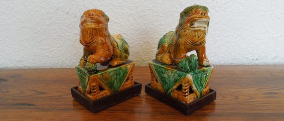 Vintage Chinese Foo Dogs Majolica Sancai Glazed Pair