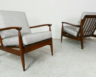 pair mid century Danish modern Selig Kofod Larsen style reupholstered platinum tweed walnut framed lounge chairs