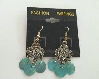 Indian, silver dangle earrings with aquamarine circles