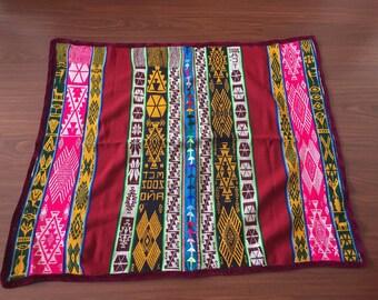 Ethnic Andean Handmade Peruvian tribal boho fabric manta textile upholstery aguayo loom  SV01