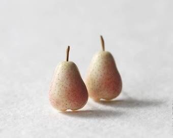 Tender Yellow Pears Stud Earrings - Small Ear Studs - Earrings Post - Food Jewelry - Vegan Earrings - Fruit Earrings