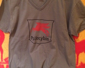 Gray V-Neck Psilocybin T-shirt
