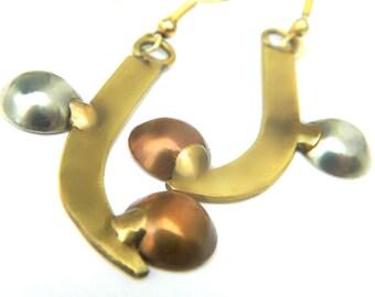 Contemporary Mixed Metal Earrings Silver Copper Brass Modern Geometric Style Vintage Pierced Wire 3 Tone Metal Gift Idea For Women
