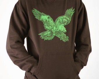 FREE SHIPPING Philadelphia Eagle Hoodie -- Paul Carpenter Art -- Unisex Philly Artist Print HOODIE