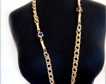 Jewel Tone Long Chain Necklace Red Blue Green Purple Cabochon Trim 1980's Bold Gold Opera Length Heavy Chain Runway Statement Piece