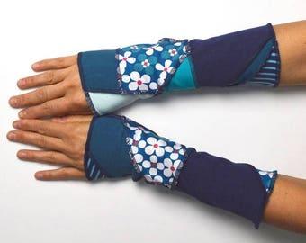 Mittens Arm Warmers patchwork repurposed unique piece wrist warmer