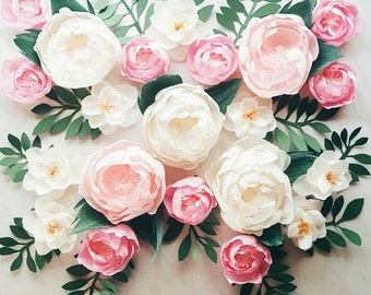 Paper flower wall display. Girl nursery wall decor. Garden party photo booth. Crepe paper wall flowers. Baby shower flower backdrop.