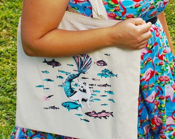 Cat Mermaid Tote Bag | Illustrated Organic Cotton Canvas Tote | Screen Printed Grocery Bag | Unique Animal Lover Holiday Gift