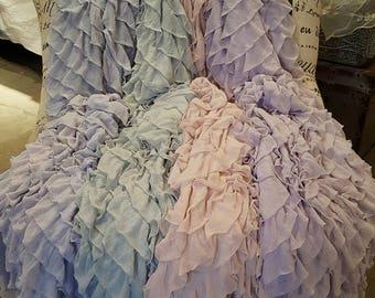 Larger Size Ruffled Throw Drapey Soft Chiffon Ruffles on Knit Background Romantic Shabby & Chic