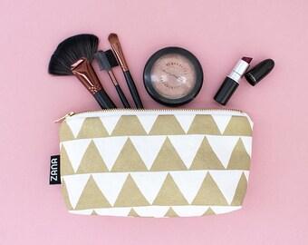 Gold Triangle Makeup Bag - Brush Bag - Travel Cosmetics Case